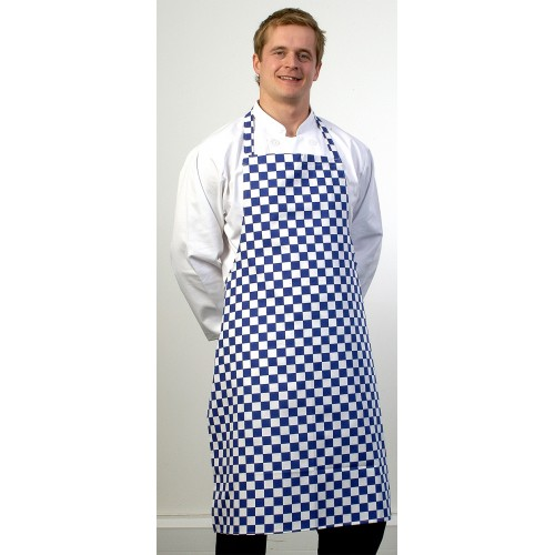 Blue and White Check Bib Apron